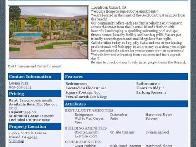 $1395 / 2br 850ft² Apply Today & Move In Tomorrow! 2 Free Weeks! Oxnard, Ca Map