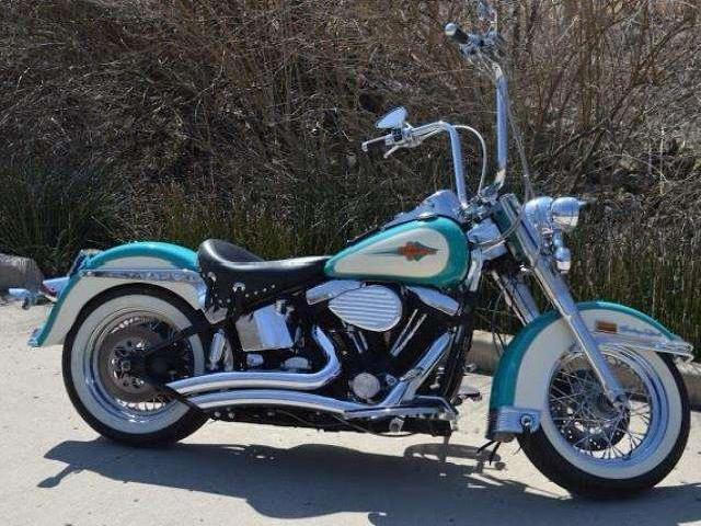 Blue And Cream Harley Paint