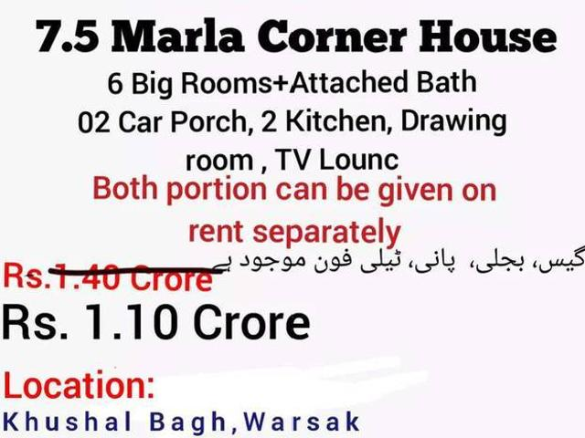 75 Marla Double Story House Khushal Bagh