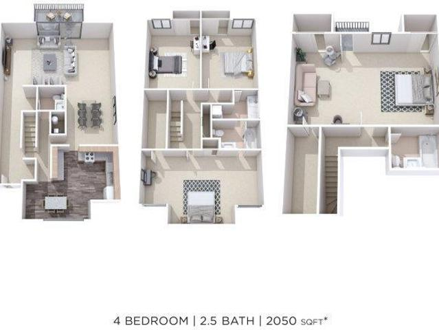 Briarwood Apartments And Townhomes Four Bedroom