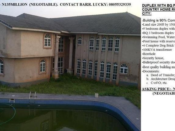 Duplex With Bq Covered By C Of O Available For Sale