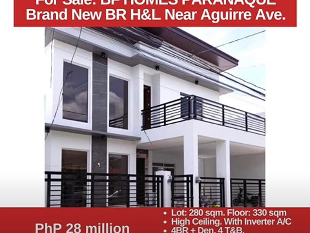For Sale: Bf Homes Parañaque, Brand New 4br H&l Near Aguirre Ave Php 28m