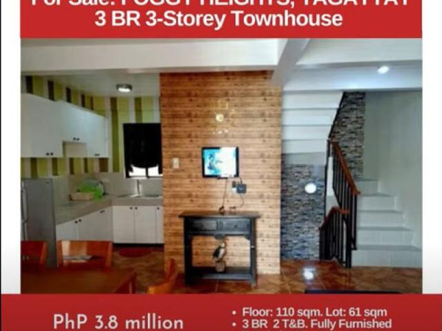 For Sale: Foggy Heights Tagaytay, 3br 3 Storey Townhouse, Php 3.8m
