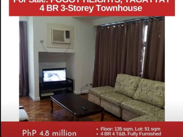 For Sale: Foggy Heights Tagaytay, 4br 3 Storey Townhouse, Php 4.8m
