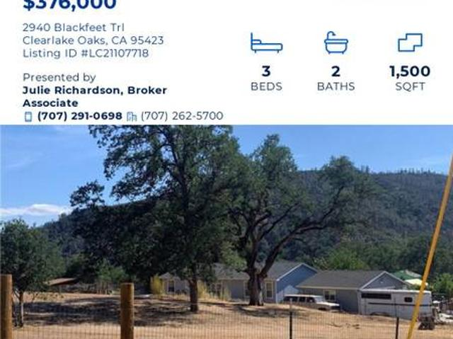 Horse Property For Sale Clearlake Oaks