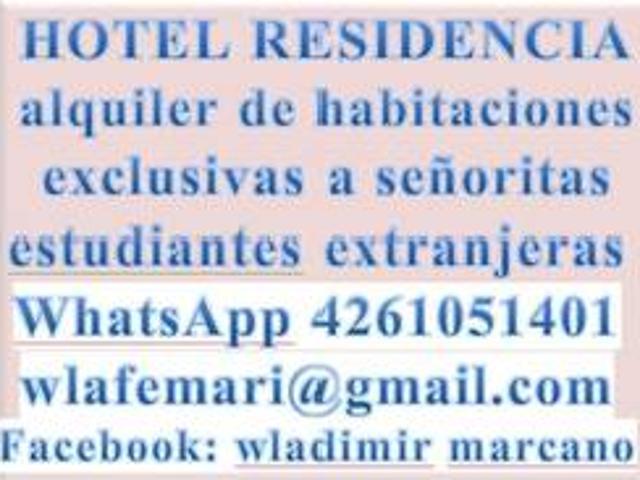 Hotel. Residencias. Alquiler De Habitaciones. Exclusivamente Señoritas. Inmobi