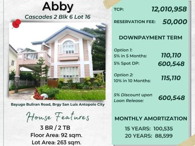 House And Lot Single Attached In Upper Antipolo City
