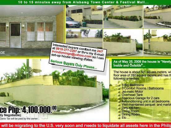 House & Lot In Soldiers Hills Muntinlupa City Php 4,100,000.00