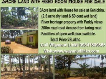 River Frontage Property With House For Sale At Kenichira Wayanad