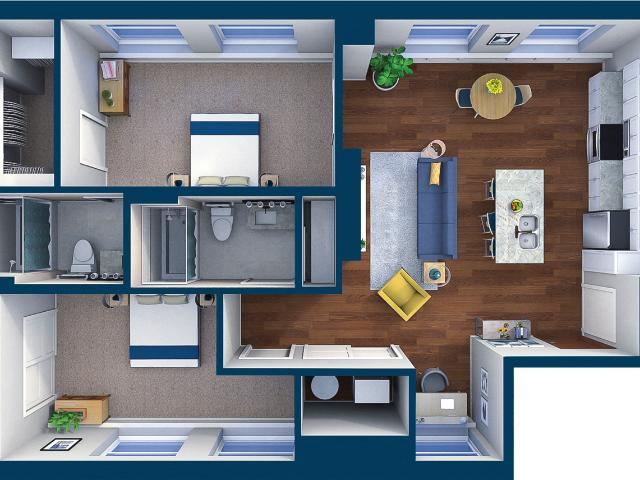 Residences At Leader Suite Style 18 2 Bedroom 2 Bath