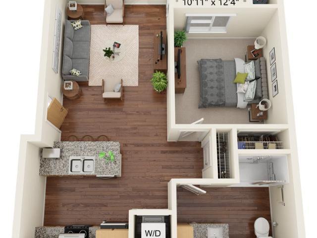 South Range Crossings One Bedroom A1 50% Wheelchair Accessible