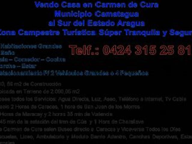Vendo Casa En Carmen De Cura Estado Aragua