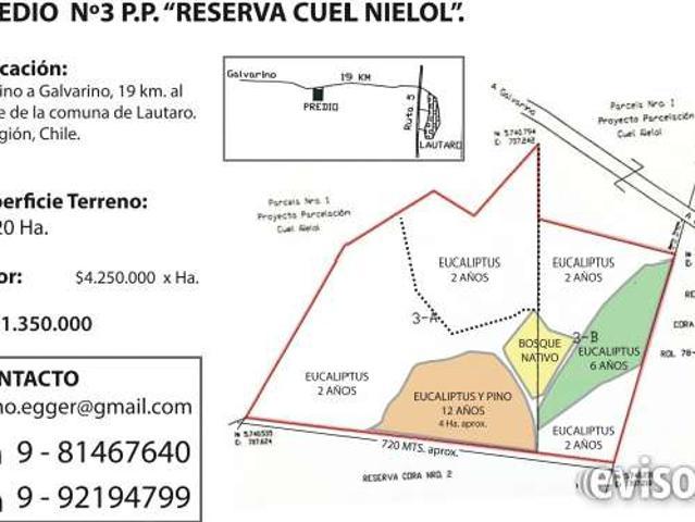 Venta Predio 26,20 Ha. A 19 Km De Lautaro, Ix Región, Chile. $ 111.350.000