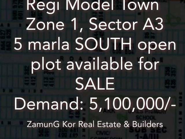 Zone 1 A3 South Open 5 Marla Plot For Sale